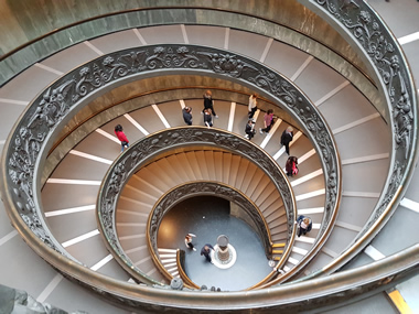 Modern Bramante double helix staircase in the Vatican Museum