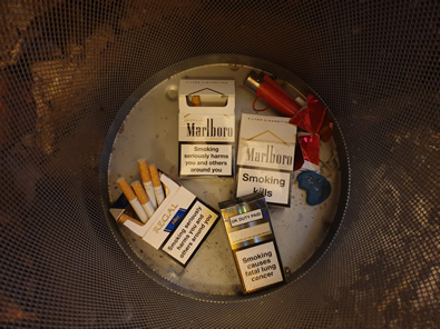 Cigarettes in the bin!